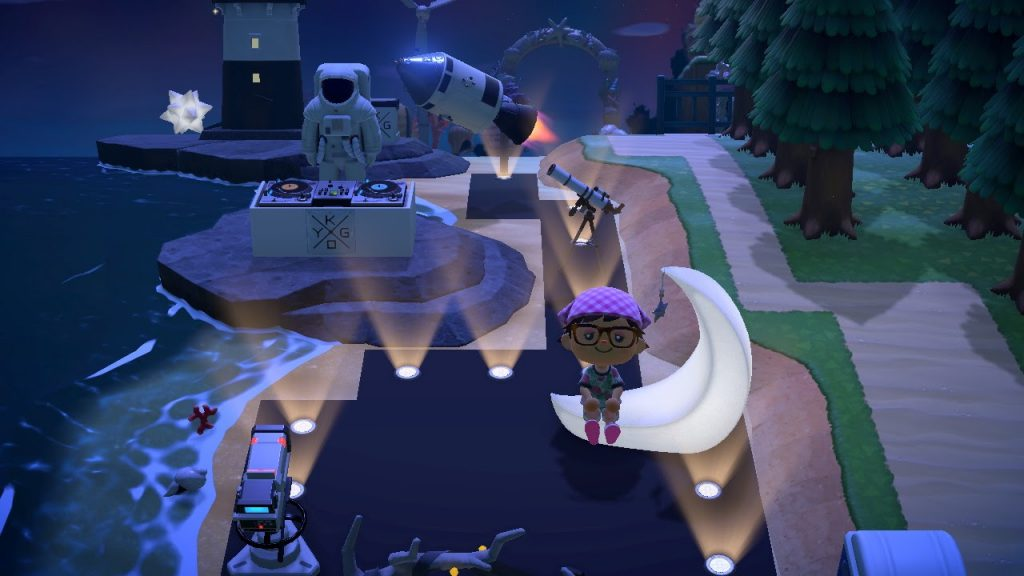 One of the many Animal Crossing island ideas are bright lights at music festivals.