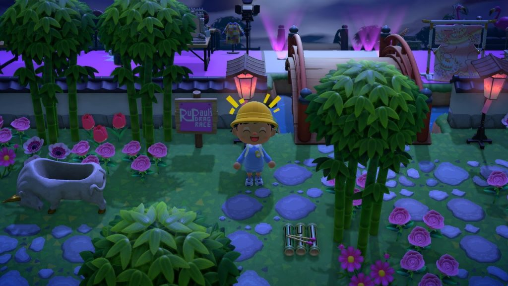 One of the many Animal Crossing island ideas is RuPaul's Drag Race Werk Room!  Pink, more pink and fierceness!