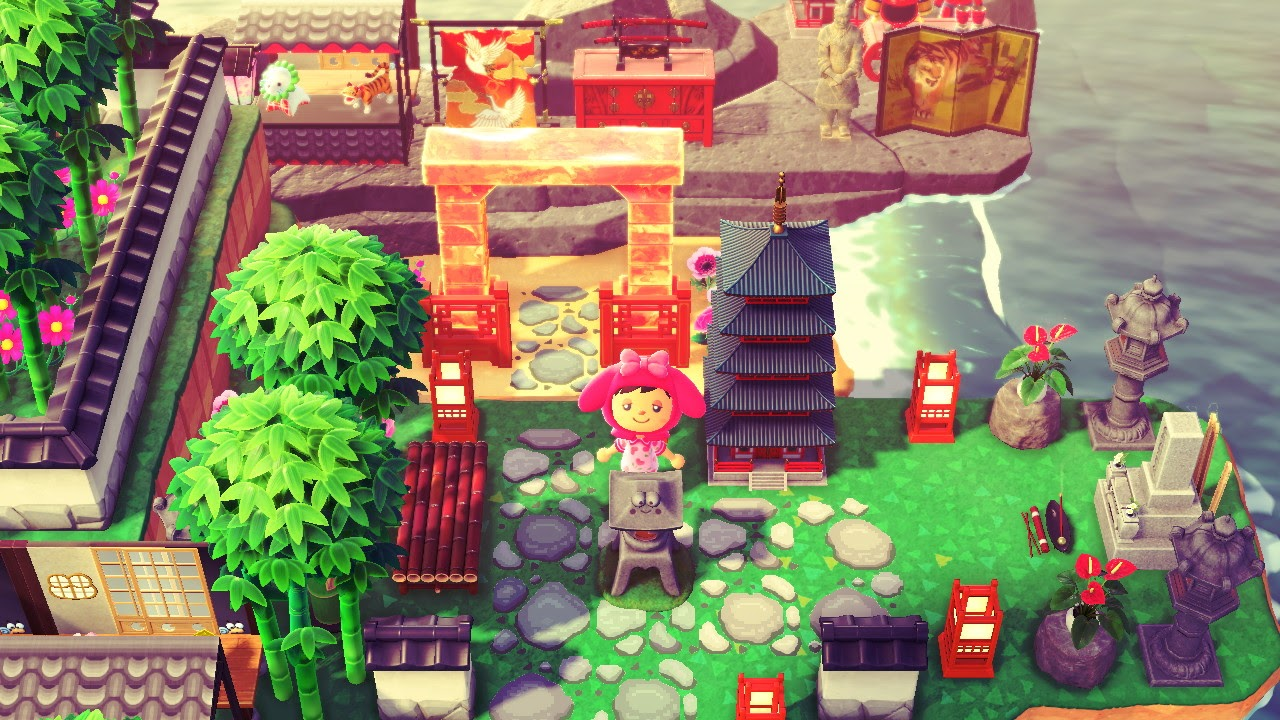 One of the many Animal Crossing island ideas are Japanese Torii Gates.